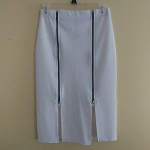 Boohoo night white midi skirt
